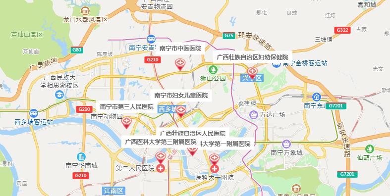 南宁试管婴儿医院地图